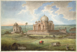 The tomb of the Emperor Humayun with surrounding tombs and pavilions
